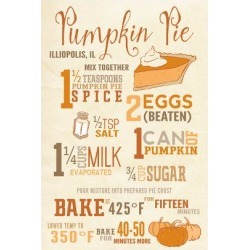 Art Print: Lantern Press' Illiopolis, Illinois - Pumpkin Pie Recipe -