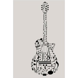 Giclee Painting: Musical Symbols & Notes Guitar, 56x44in.