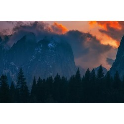 Poster: James' Fiery Sunset in the Valley, Yosemite National Park, Cal