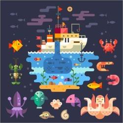 Art Print: Beresnev's Ocean Underwater Life, Sea Animals. Fishing Boat