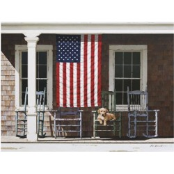Giclee Painting: Lu's American Flag, 28x36in.