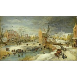 Giclee Painting: Velde the Younger's Village in Winter, 24x16in.