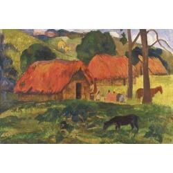 Giclee Painting: Gauguin's Village in Tahiti, 24x36in.