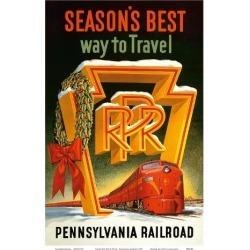 Art Print: Season's Best Way to Travel - Pennsylvania Railroad, 18x12i