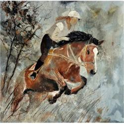 Art Print: Ledent's Jumping Horse, 16x16in.