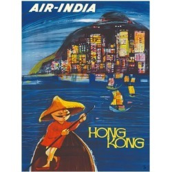 Giclee Painting: Cowasji's Hong Kong Maharaja - Air India, 26x20in.
