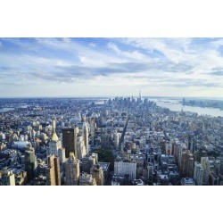 Poster: Hall's Manhattan Skyline from Above, New York City, 24x16in.