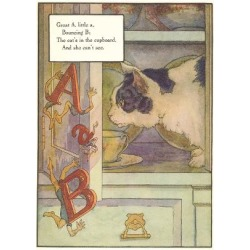 Art Print: Cat Watching Falling Letters, 24x18in.