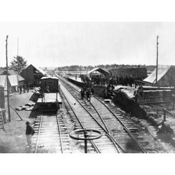 Poster: Barnard's Confederate Soldiers at a Train Station, 24x18in.