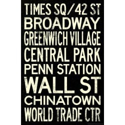 Poster: New York City Subway Style Vintage Travel Poster, 36x24in.