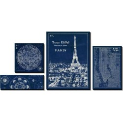 Canvas Art Set: Schlabach's Astronomy and the Cities Blueprints, 32x68