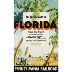 Giclee Painting: Florida, Pennsylvania Railroad Poster, 18x12in.