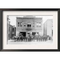 Framed Art Print: Lantern Press' Portland, OR Fire Station Horse Drawn