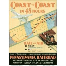 Art Print: Pennsylvania Railroad: Coast to Coast in 48 Hours, 12x9in.