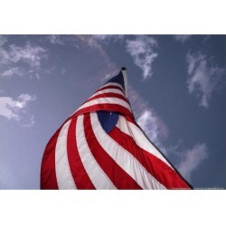Poster: American Flag Against Blue, 13x19in.