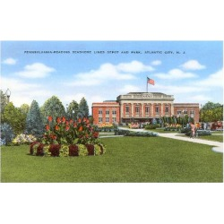 Art Print: Train Station and Park, Atlantic City, New Jersey, 24x18in.
