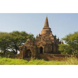 Poster: Hogstrom's Myanmar. Bagan. Small Brick Temple, 24x16in.