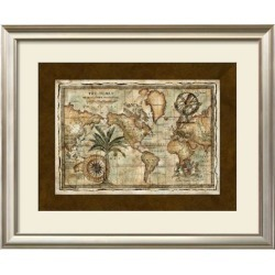 Framed Art Print: World Map with Globe, 26x32in.