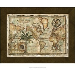 Art Print: World Map with Globe, 24x18in.