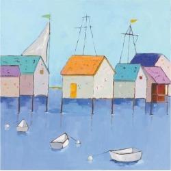 Art Print: Adams' Boat House Row, 16x16in.