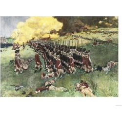 Giclee Painting: British Army Marching in Formation Up Breed's Hill in