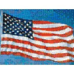 Poster: Sohm's American Flag Mosaic, 24x18in.