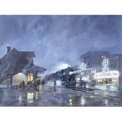 Giclee Painting: Wemp's Train Station, 24x18in.