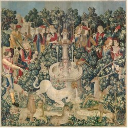 Giclee Painting: Unknown Tapestry Artist's The Unicorn is Found, one o