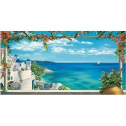 Giclee Painting: Dominguez's Village in Greece, 26x50in.