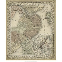 Giclee Painting: Mitchell's Plan of Boston, 26x22in. found on Bargain Bro from Allposters.com for USD $31.53
