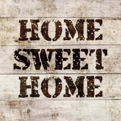 Art Print: Color Me Happy's Home Sweet Home In Wood, 20x20in.