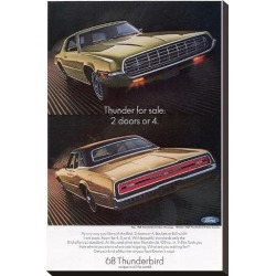 Stretched Canvas Print: 1968 Thunderbird 2 Doors or 4, 22x15in.