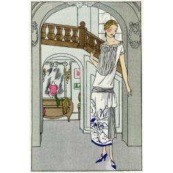 Giclee Painting: Young Lady in White Tubular Dress by Beer, 24x16in.