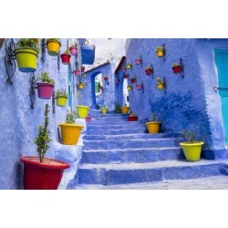 Poster: Wilson's North Africa, Morocco, Traiditoional blue streets of