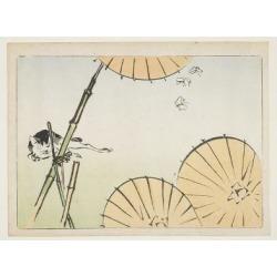 Giclee Painting: Zeshin's Bamboo, Umbrellas, a Cat and Butterflies, C.