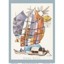 Art Print: Klein's Hong Kong - Chinese Fishing Junk Sampan Boat - TWA