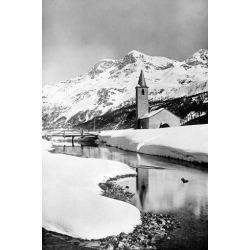 Poster: Snowy Swiss Village, 24x16in.