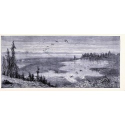 Giclee Painting: Yellowstone Lake United States of America, 24x16in.