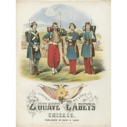 Giclee Painting: Zouave Cadets Quickstep Sheet Music Cover, 24x18in.