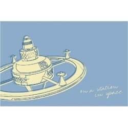 Giclee Painting: Golden's Lunastrella Space Station, 28x40in.
