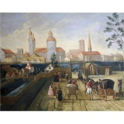 Giclee Painting: Stephan's Stagecoach Station in Munich, 1775, 24x18in