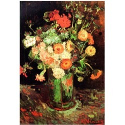 Poster: Vincent Van Gogh Vase with Zinnias and Geraniums 2 Art Print P found on Bargain Bro from Allposters.com for USD $6.83