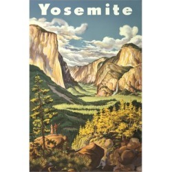 Art Print: Travel Poster for Yosemite National Park, 16x12in.