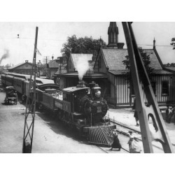 Poster: American Railroad Station with Train, 24x18in.