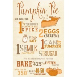 Art Print: Lantern Press' Pumpkin Pie Recipe, 24x16in.