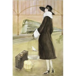 Giclee Painting: Reynold's Lady at Train Station, 16x12in.