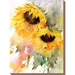 Stretched Canvas Print: McNaughton's Sunflower Duo, 16x12in. found on Bargain Bro from Allposters.com for USD $28.49
