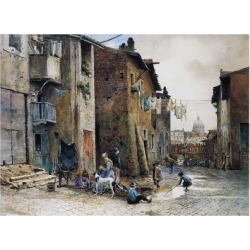 Giclee Painting: Medieval Houses in Via Della Lungaretta in Rome, 24x1