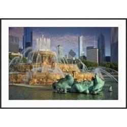 Framed Art: Bednarik's USA, ILlinois, Chicago, Buckingham Fountain in