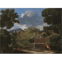 Giclee Painting: Poussin's Landscape with Antique Tomb and Two Figures found on Bargain Bro Philippines from Allposters.com for $69.99
